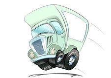 Moving truck. Cartoon style in full speed with front wheels in the air Stock Photography