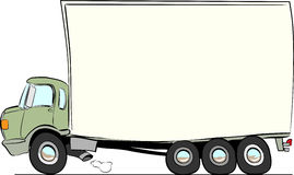 Moving truck. Cartoon style with heavy load struggling forward Stock Photos