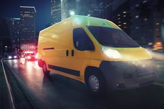 Fast van on a city road delivering at night. 3D Rendering. Moving truck on a city road with skyscrapers background. 3D Rendering stock illustration