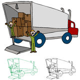 Moving Truck Company. An image of a moving truck with workers Stock Photography