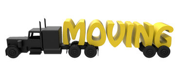 Moving truck concept. 3D render of a moving truck. The image is isolated on a white background Stock Photography