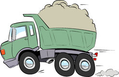 Moving truck with debris. Moving truck cartoon style in full speed with front wheels in the air Royalty Free Stock Photography