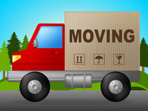 Moving Truck Means Change Of Address And Lorry. Moving Truck Showing Change Of Residence And Buy New Home Royalty Free Stock Photo