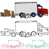 Moving Truck Profile View Royalty Free Stock Photos