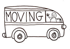 Moving Truck Vector. A black and white ink vector illustration of a moving truck Royalty Free Stock Photos