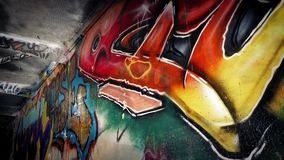 Moving Under Walkway With Graffiti stock video