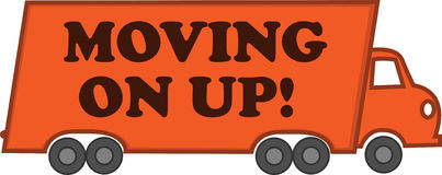 Moving On Up. Vector Illustration line drawing of a moving truck Stock Images