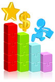 Moving Up Business Chart. Three dimension style High Quality Image Royalty Free Stock Photo