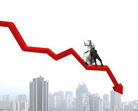 Moving up money symbol on going down arrow Stock Images