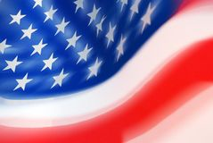 Moving USA Flag. Close Up of Segment of Moving USA Flag Stock Images