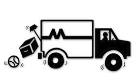 Moving Van - Movers. Moving van driving down road with furnishings falling out the back of truck. Illustration royalty free illustration