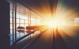 Moving walkway in airport Stock Photos