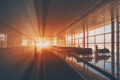 Moving walkway in airport royalty free stock photography