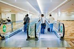 Moving walkway inside Indira Gandhi International Airport terminal Stock Images
