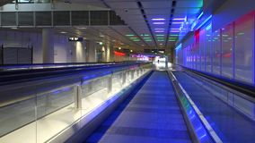 Moving walkway in Munich Airport stock video footage