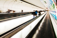 Moving walkway in a subway station Stock Photos