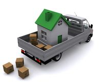 Moving the whole house vector illustration
