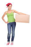 Moving woman holding cardboard box. Moving day. Young woman holding cardboard moving box. Asian Caucasian female model isolated on white background standing in Royalty Free Stock Image