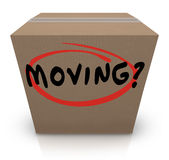 Moving Word Cardboard Box Changing Location Help Support Royalty Free Stock Photography
