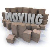 Moving Word Cardboard Boxes Relocation Packed to Go Royalty Free Stock Photo