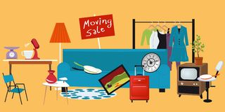 Moving sale. Moving yard sale with household items lied in the yard, EPS 8 vector illustration Royalty Free Stock Images
