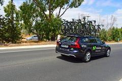 Movistar drużyny samochód I rowerów los angeles Vuelta España Zdjęcia Stock