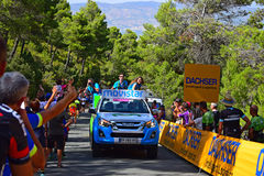 Movistar Promotion Girls La Vuelta España 2017. Driving Through the crowds during stage 8 of the 2017 race Stock Photo