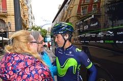 Movistar Racing Cyclist Talking stock photos