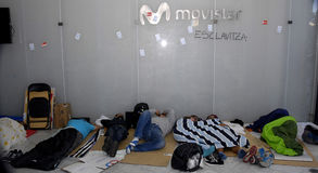 MOVISTAR WORKER PROTEST TODAY 49 DAYS Stock Images
