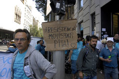 MOVISTAR WORKER PROTEST TODAY 49 DAYS Stock Photos