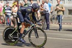 Movistar Zespala się konkurentów stojaki na następach przy Giro 2017, Mediolan Obrazy Royalty Free