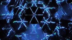 Movments hipnóticos del tubo del espejo con colores azules ilustración del vector