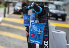 Movo, un servicio de alquiler de la vespa eléctrica, lanzamientos en Lima fotos de archivo libres de regalías