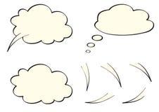 Mowa, myśl, myśl bąble jak chmury, ilustracja wektor