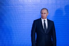 Mowa prezydentem federacja rosyjska Vladimir Putin w Primorsky oceanarium fotografia royalty free