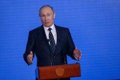 Mowa prezydentem federacja rosyjska Vladimir Putin w Primorsky oceanarium obrazy stock
