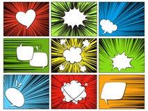 Mowa promieniowi elementy Komiczni kreskówka kształty dla dialog myśleć i opowiada na varicoloured horyzontalnej linii pokryw royalty ilustracja