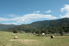 Mowed field in Pyrenees Stock Photography