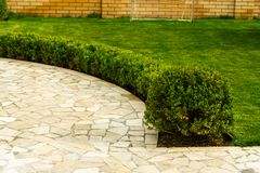 Mowed lawns with shrubs near the stone walkway royalty free stock images