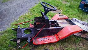 Mower deck. Deck of a lawnmower on a farm Stock Image