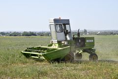 Mower in the field mows the grass for hay. royalty free stock images