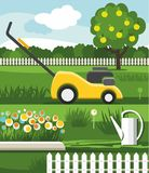 Mower, lawn, flowerbed, Apple Royalty Free Stock Photography