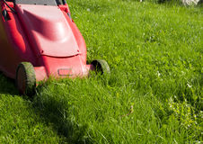 Mower. A red mower on a green lawn Stock Photography