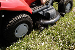 Mower with some flowers in front,. Grass background stock photo