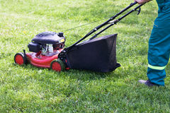 Mowing the grass. A man with a red lawn mower cutting the grass Royalty Free Stock Image