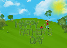 Mowing the grass. Boy mowing grass with Father's Day text Royalty Free Stock Images
