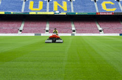 Mowing grass on Camp Nou Stock Photography