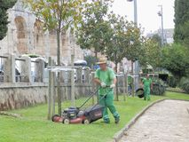 Mowing the grass in front of the Pula Arena