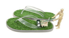 Mowing Grass Sandals Royalty Free Stock Images