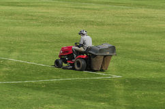 Mowing grass in a soccer stadium Royalty Free Stock Photo